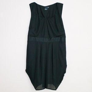 ASOS Curve Sleeveless Black Pleated Tie Back Dress